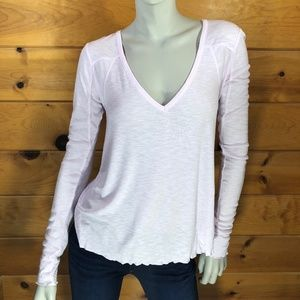 Free People NWT Pink V Neck Long Sleeve T-Shirt
